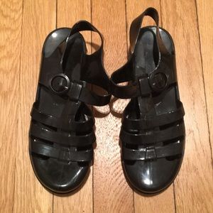 American Apparel Black Jelly Sandals